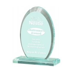 Jade Vertical Oval Acrylic Award